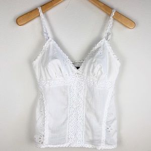 The Limited White Lace Babydoll Tank Small
